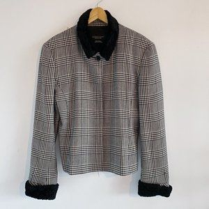 2/25 🍉 wool houndstooth jacket with faux fur